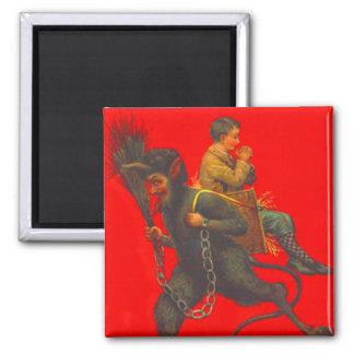 Red Krampus Kidnapping Praying Boy Magnet