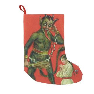 Red Krampus Punishing Praying Girl Small Christmas Stocking