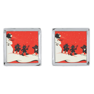Red Krampus Snowball Fight Snowman Switch Silver Finish Cuff Links