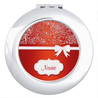 Red Lace and Bow Personalized Compact Mirror