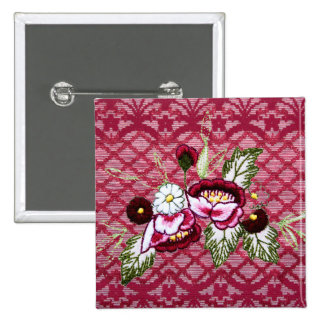Red lace and floral design products pinback buttons