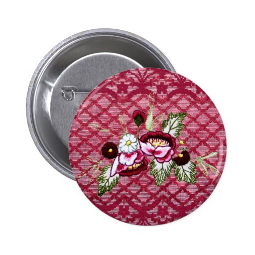 Red lace and floral design products pinback button