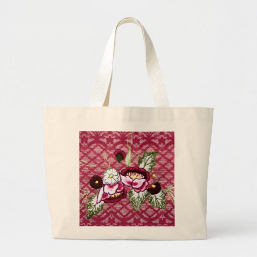 Red lace and floral design products canvas bags
