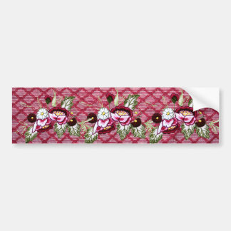 Red lace and floral design products bumper stickers