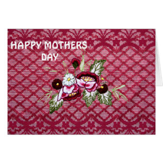 Red lace and floral design products greeting card