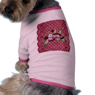 Red lace and floral design products doggie tshirt
