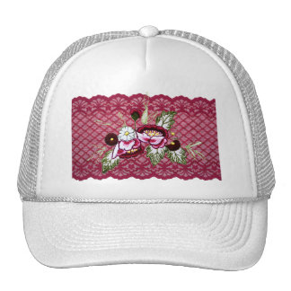 Red lace and floral design products mesh hats
