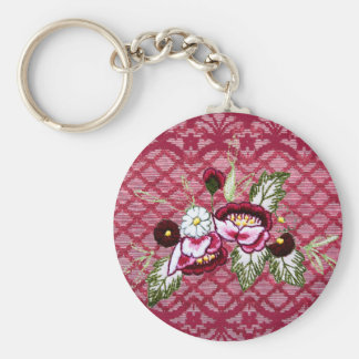 Red lace and floral design products keychain