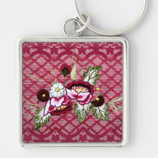 Red lace and floral design products Silver-Colored square key ring