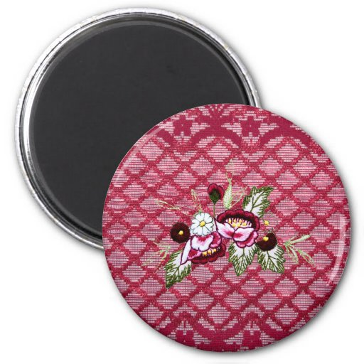 Red lace and floral design products fridge magnets
