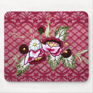 Red lace and floral design products mouse pad