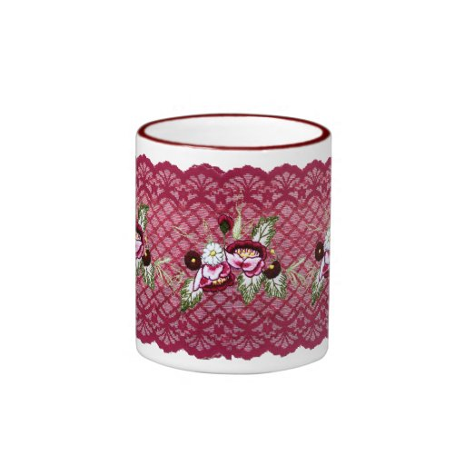 Red lace and floral design products coffee mugs