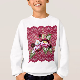 Red lace and floral design products sweatshirt