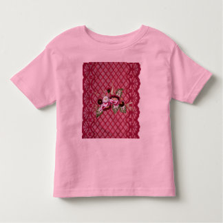 Red lace and floral design products tees