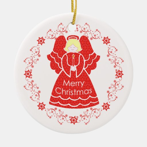 Red Lace Angel Christmas Ornaments