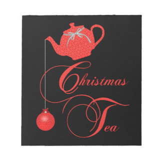 Red Lace Christmas Tea Party Notepad