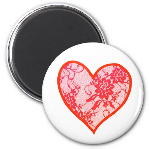 Red Lace Heart Magnets