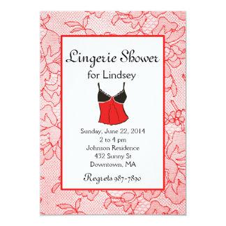Red Lace Lingerie Bridal Shower Invites