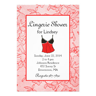 Red Lace Lingerie Bridal Shower Invites
