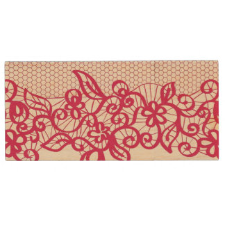 Red lace wood USB 2.0 flash drive