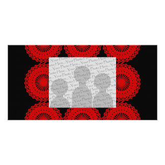 Red Lace Pattern Design. Personalized Photo Card