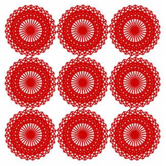 Red Lace Pattern Design. Photo Sculpture Magnet
