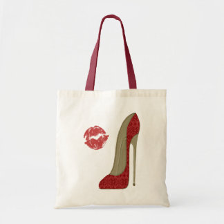 Red Lace Stiletto Shoe and Kiss Art Budget Tote Bag