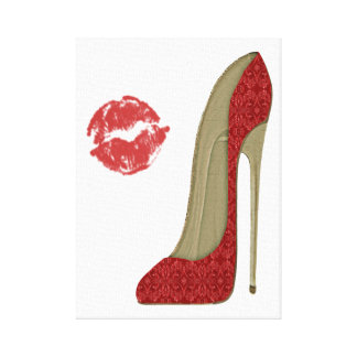 Red Lace Stiletto Shoe and Kiss Art Canvas Canvas Print