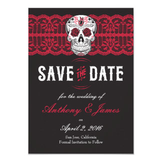 Red Lace Sugar Skull Save the Dates 4.5x6.25 Card