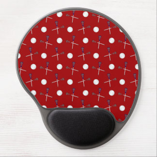 Red lacrosse pattern gel mouse mats