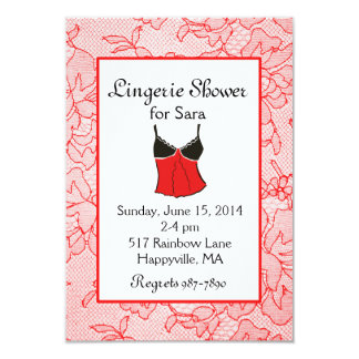 Red Lacy Lingerie Bridal Shower Invitations