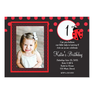 Red Lady Bug Birthday Invitation