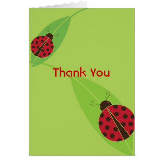 Red Lady Bug Thank You Note Card