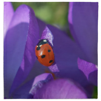 Red ladybird on crocus napkin