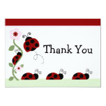 Red Ladybug and Flower Baby Shower Thank You Card 13 Cm X 18 Cm Invitation Card