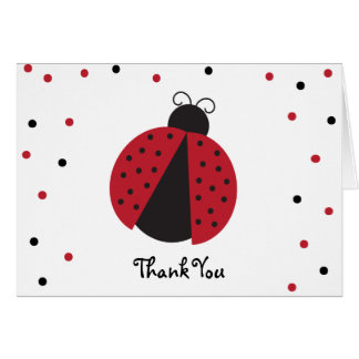 Red Ladybug Baby Girl's Birthday Thank You Note Card