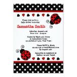 Red Ladybug Baby Shower Black and White Polka Dots 13 Cm X 18 Cm Invitation Card