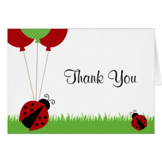 Red Ladybug Balloons Thank You Note Note Card