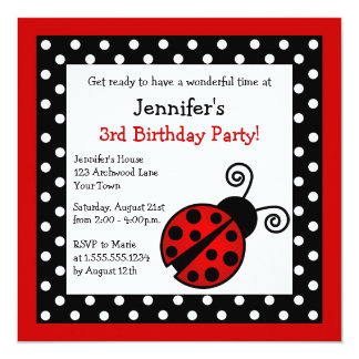 Red Ladybug Birthday - Black and White Polka Dots Card