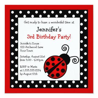 Red Ladybug Birthday - Black and White Polka Dots Card