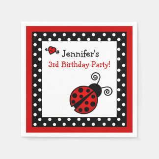Red Ladybug Birthday - Black and White Polka Dots Disposable Serviettes