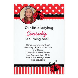 "Red Ladybug Birthday Invitation 5"" X 7"" Invitation Card"