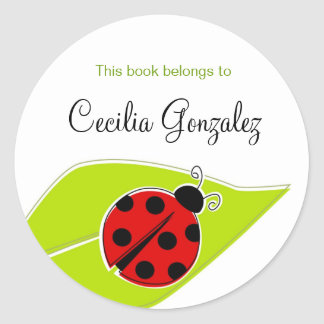 Red Ladybug Bookplates Classic Round Sticker