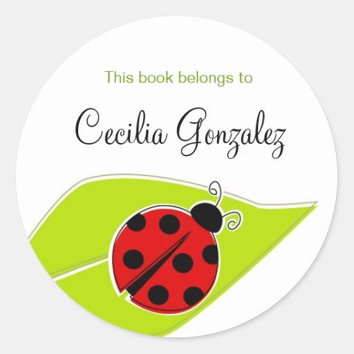 Red Ladybug Bookplates Sticker