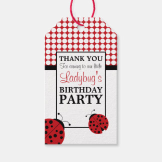 Red Ladybug Children's Birthday Party Gift Tags