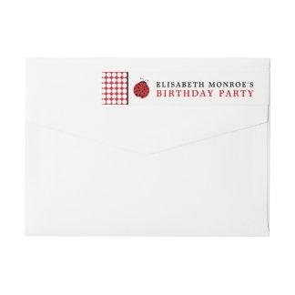 Red Ladybug Children's Birthday Party Wraparound Return Address Label