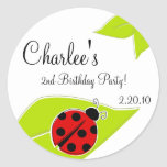 Red Ladybug Favour Tags Round Stickers
