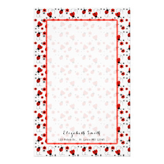 Red Ladybug Floral Girl Personalized Stationery