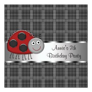 Red Ladybug Girls 7th Birthday Party Card