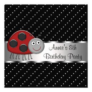 Red Ladybug Girls 8th Birthday Party Custom Invite
